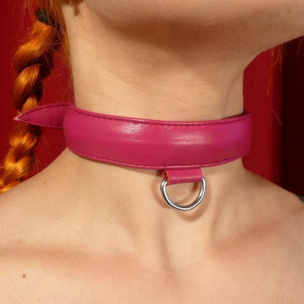 Necklace w horizontal D-ring Pink